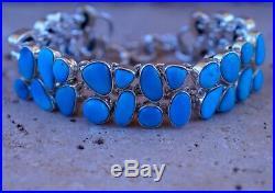 Stunning Genuine Sleeping Beauty Turquoise & 925 Sterling Silver Bracelet