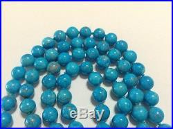 Stunning Large SLEEPING BEAUTY Turquoise Bead Necklace Gem Quality 34 Vtg RARE