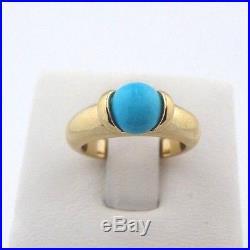 Stunning Sleeping Beauty Turquoise Ring Classic 14k Yellow Gold sz 5