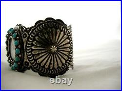 Sunshine Reeves Navajo Sleeping Beauty Turquoise Wide Cuff Bracelet Watch Works