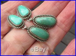 Superb Vintage Sterling Silver Sleeping Beauty Turquoise Navajo Earrings
