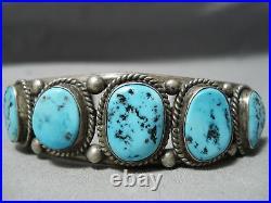 Superior Vintage Navajo Sleeping Beauty Turquoise Sterling Silver Bracelet Old