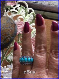 Sz 7-3.30ct Arizona Sleeping Beauty Turquoise/Tanzanite Platinum Ovr Silver Ring
