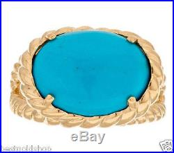 Sz 8 Sleeping Beauty Turquoise Rope Design Ring REAL 14K Yellow Gold QVC