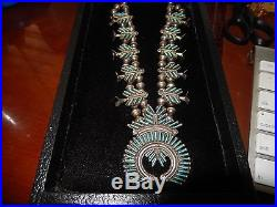 T. Loncasion Zuni Squash Blossom Necklace Sleeping Beauty Turquoise Sterling