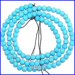 T612f SLEEPING BEAUTY Blue Turquoise 4mm Round Gemstone Beads 16