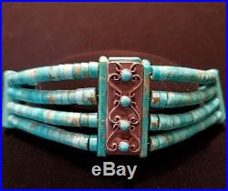 TURQUOISE Native American Indian Necklace Choker Natural Sleeping Beauty Heishi