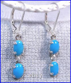 TURQUOISE Sleeping Beauty. 925 Sterling Silver Dangle Earrings 2.11ctw