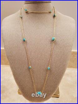Tehya Oyama Sleeping Beauty Turquoise 18k Yg Over Brass 36 Station Necklace
