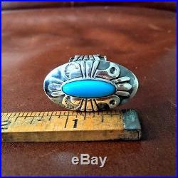 Thunderbird Sterling Natural Sleeping Beauty Navajo Ring by Marita Benally Sz 8