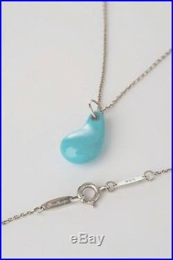 Tiffany & Co. Elsa Peretti Sleeping Beauty Turquoise Teardrop Pendant Necklace
