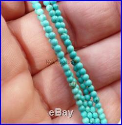 Tiny! Fine Turquoise Tiny Round Bead Strand Sleeping Beauty Mined MM 1.8 MM