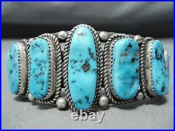 Tremendous Vintage Navajo Sleeping Beauty Turquoise Sterling Silver Bracelet Old