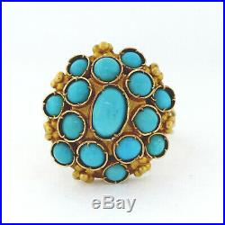 Triple Shank 18K Yellow Gold & Sleeping Beauty Turquoise Cabochon Ring