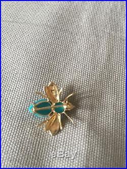 Turquoise Bee Pin/Pendant Sleeping Beauty 14K Yellow Gold