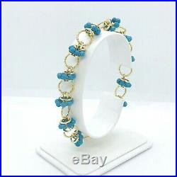 Turquoise Cabochon Solid 14k Yellow Gold Link Bracelet 7.25