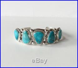 Turquoise Cuff Bracelet, Sterling Silver, Sleeping Beauty, 7