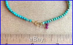 Turquoise Gemstone Bracelet Beaded strand rare LIMITED Sleeping Beauty 7.5 18k