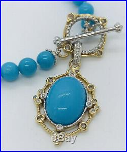 Turquoise Solid 14k Gold Diamond Beaded Single Strand Charm Bracelet 7.5