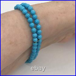 Turquoise Solid 14k Yellow Gold Beaded Double Strand Bracelet 7.25