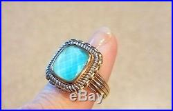 Two Tone Sleeping Beauty Turquoise Doublet 14K Gold Ring Sz7 NEW