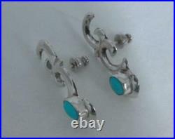 UNIQUE Vintage Navajo Sleeping Beauty Turquoise Sandcast Sterling Silve Earrings