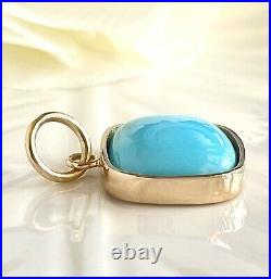 Untreated Sleeping Beauty Turquoise (7.07ct) & Solid 14k Yellow Gold Pendant New
