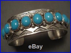 Very Rare Domed Sleeping Beauty Turquoise Vintage Navajo Silver Bracelet
