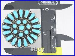VINTAGE 50's OLD PAWN NAVAJO SLEEPING BEAUTY TURQUOISE STERLING BROOCH PENDANT