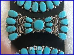 Vintage Native American Sleeping Beauty Turquoise Concho Belt