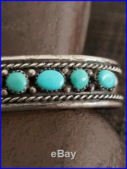 VINTAGE STERLING SILVER NAVAJO NATIVE AMERICAN sleeping beauty TURQUOISE CUFF