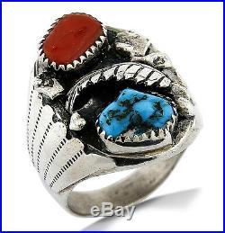 VTG Men's Navajo Oscar Alexius Turquoise & Coral Handmade. 925 Silver Ring