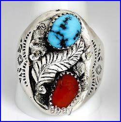VTG Men's Navajo Signed Raymond Yazzie Turquoise & Coral Handmade. 925 Ring