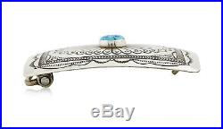 VTG Navajo Hand Stamped. Sleeping Beauty Turquoise. 925 Silver Belt Buckle
