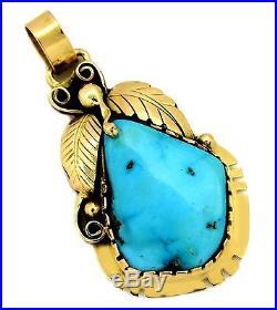 VTG Navajo Handmade Sleeping Beauty Turquoise Pendant 14k Gold