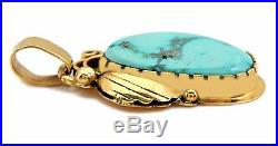VTG Navajo Sleeping Beauty Turquoise Pendant in 14k Solid Gold