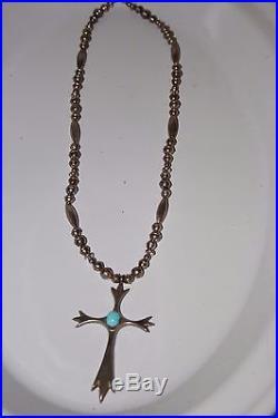 VTG Navajo Sleeping Beauty Turquoise Tufa Sandcast Cross Bench Bead Sterling S/S