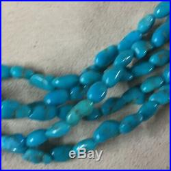 VTG Navajo Sterling Silver Sleeping Beauty Turquoise 5 Strand Necklace 17
