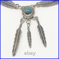 VTG Silver Sleeping Beauty TURQUOISE NAVAJO Feather Necklace SIGNED BJ 17.5g