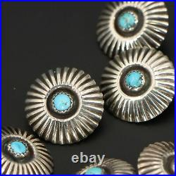 VTG Sterling Silver 7 NAVAJO Sleeping Beauty Turquoise Concho Buttons 11g