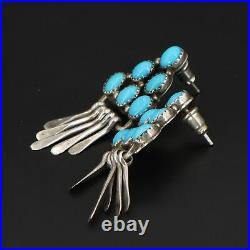 VTG Sterling Silver NAVAJO VG Sleeping Beauty Turquoise Fringe Earrings 7.5g