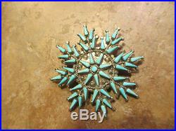 Vera Halusewa ZUNI Sterling SLEEPING BEAUTY Turquoise Snowflake Pin & Pendant