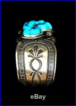 Very Unusual Natural Sleeping Beauty Turquoise Sterling Silver Bracelet