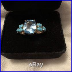 Victoria Wieck 10 KT Sleeping Beauty Turquoise And Topaz Ring Size 9 Jewelry