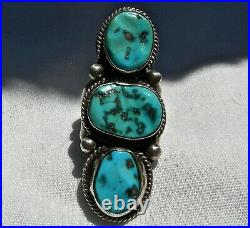 Vin NAVAJO STERLING & SLEEPING BEAUTY TURQUOISE TALL STOPLIGHT RING size 6.50
