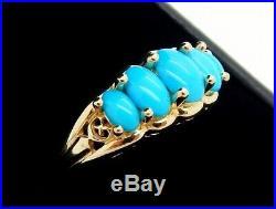 Vintage 14K Filigree Sleeping Beauty Turquoise Ring Size 8