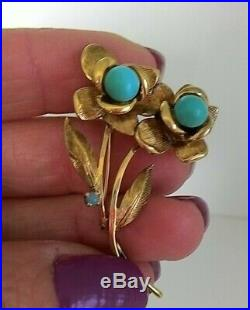 Vintage 14K Yellow Gold Sleeping Beauty Turquoise Flowers Pin Brooch 8.3 grams