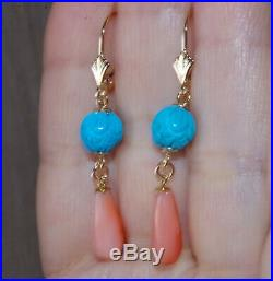 Vintage 14k Sleeping Beauty Turquoise Ball & Coral Lever Back Earrings