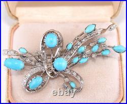 Vintage 14k WG Natural Diamond Sleeping Beauty Turquoise Pin Brooch Mid Century