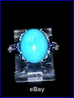 Vintage 14k White Gold Sleeping Beauty Turquoise With Sapphires Diamonds Ring Sz 5